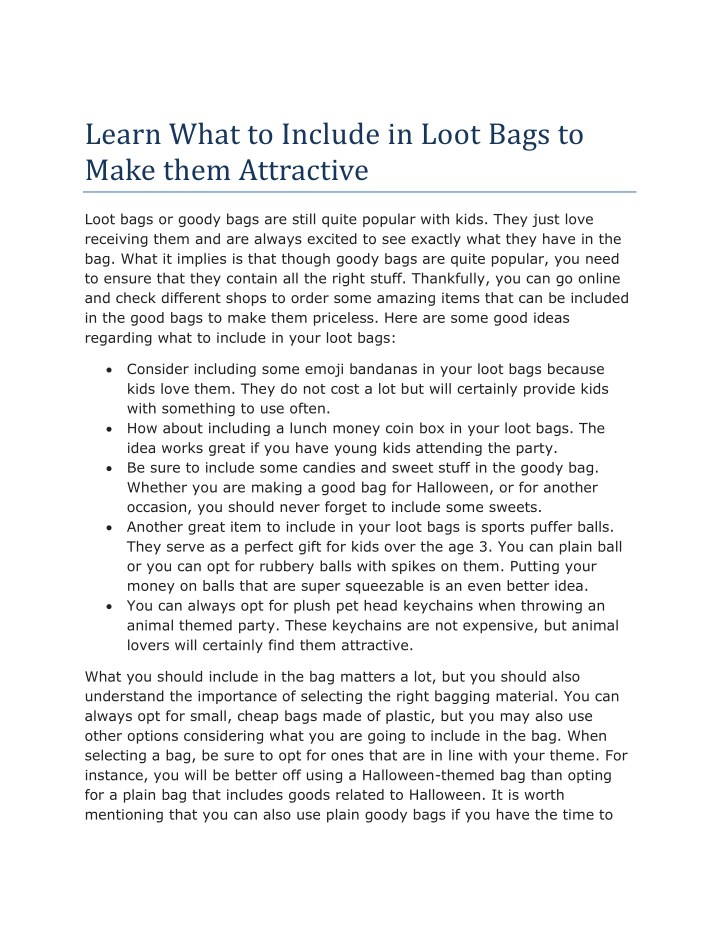 learn what to include in loot bags to make them n.
