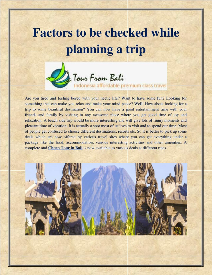 factors to be checked while planning a trip n.