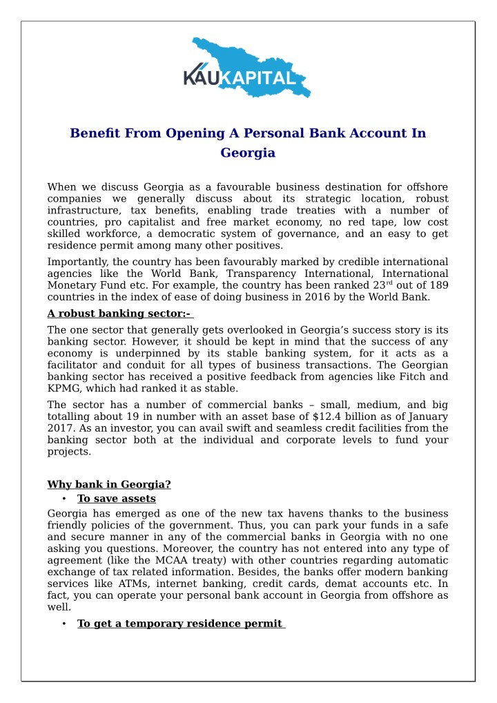 benefit from opening a personal bank account n.