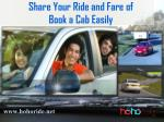 share your ride and fare of book a cab easily