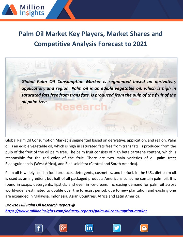 palm oil market key players market shares n.