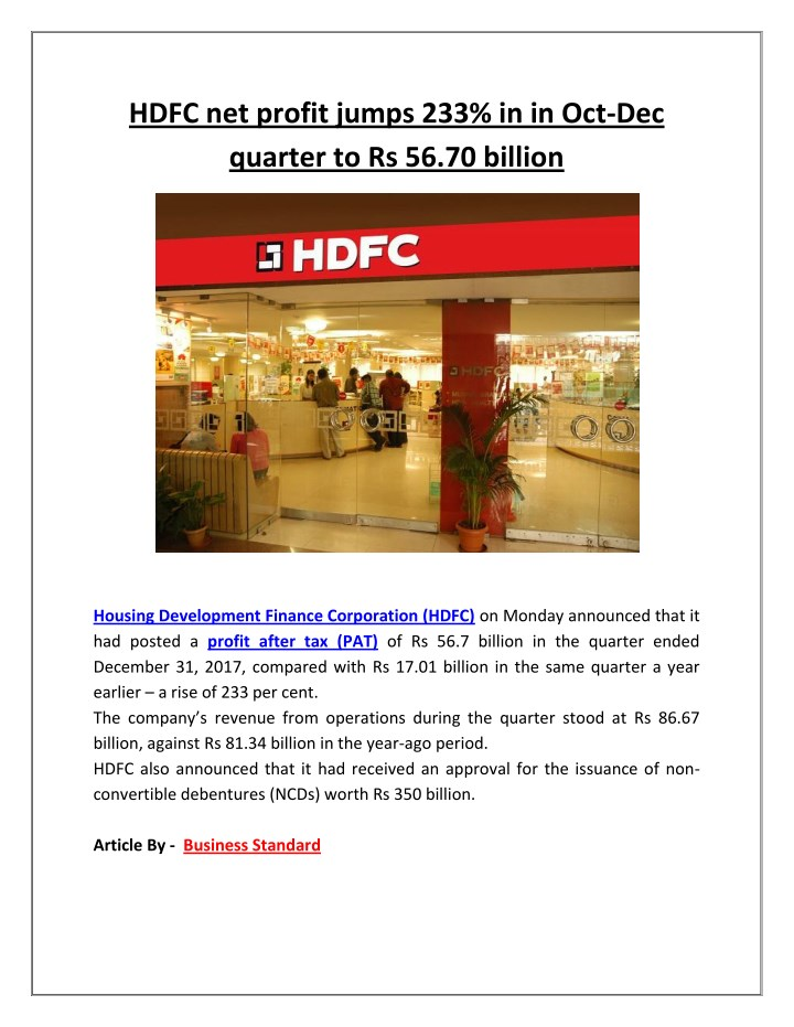 hdfc net profit jumps 233 in in oct dec quarter n.