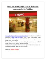 hdfc net profit jumps 233 in in oct dec quarter