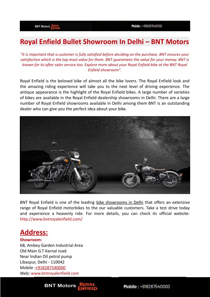 royal enfield bullet showroom in delhi bnt motors n.