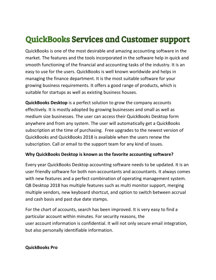 quickbooks quickbooks services and customer n.