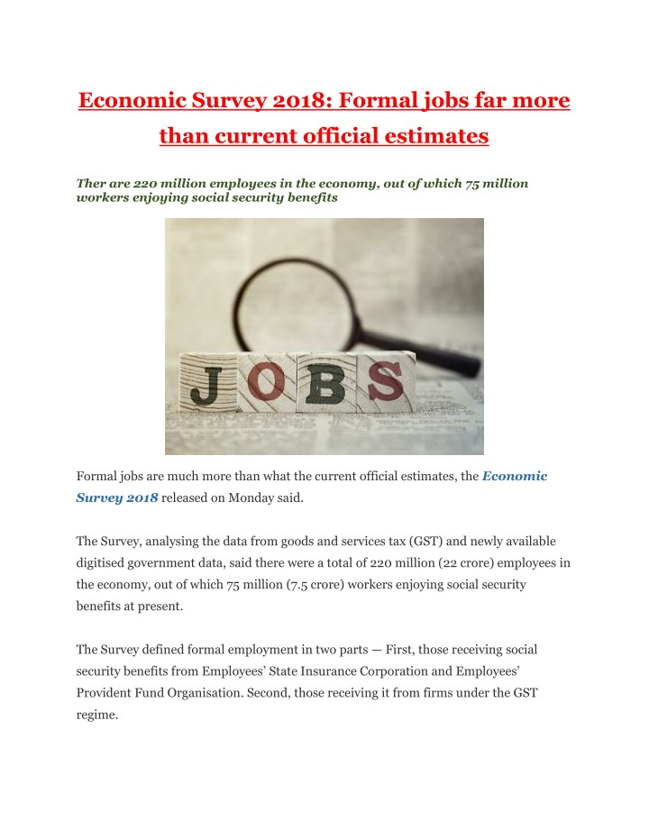 economic survey 2018 formal jobs far more n.