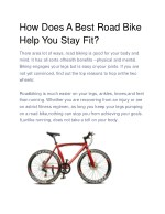 how does a best road bike help you stay fit