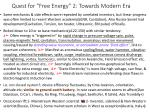 quest for free energy 2 towards modern era