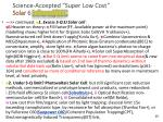 science accepted super low cost solar 6 infrared bec