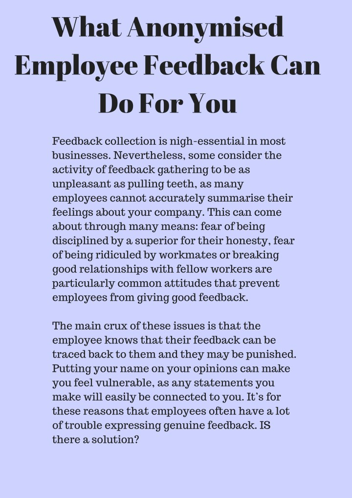 what anonymised employee feedback can do for you n.