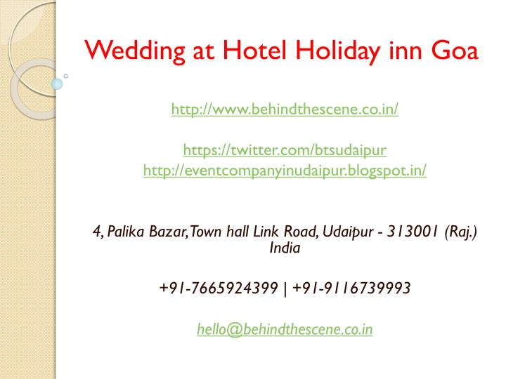 wedding at hotel holiday inn goa n.