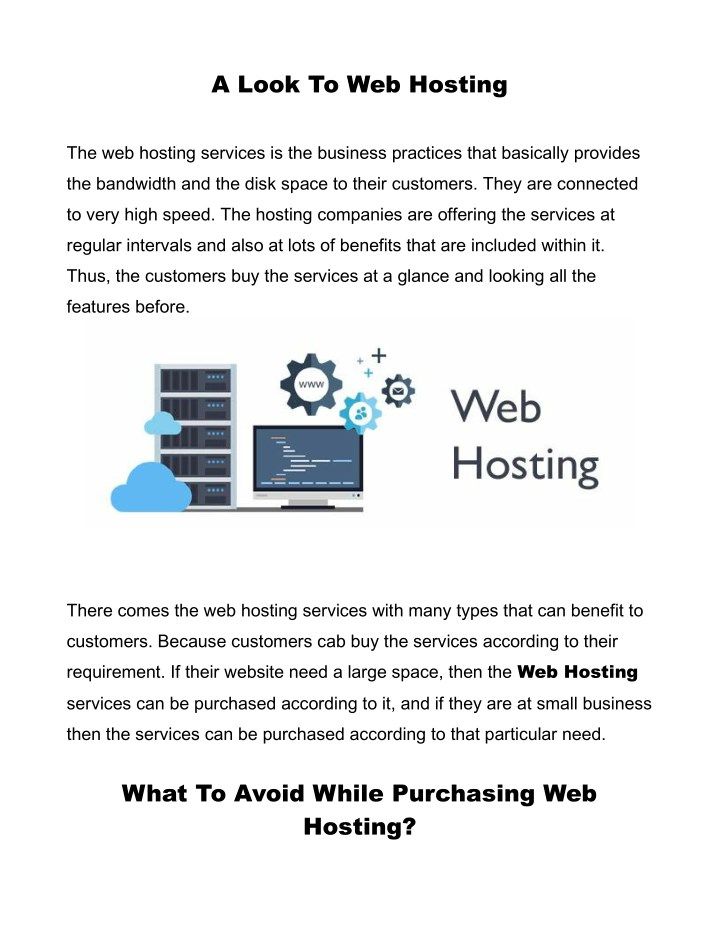 a look to web hosting n.