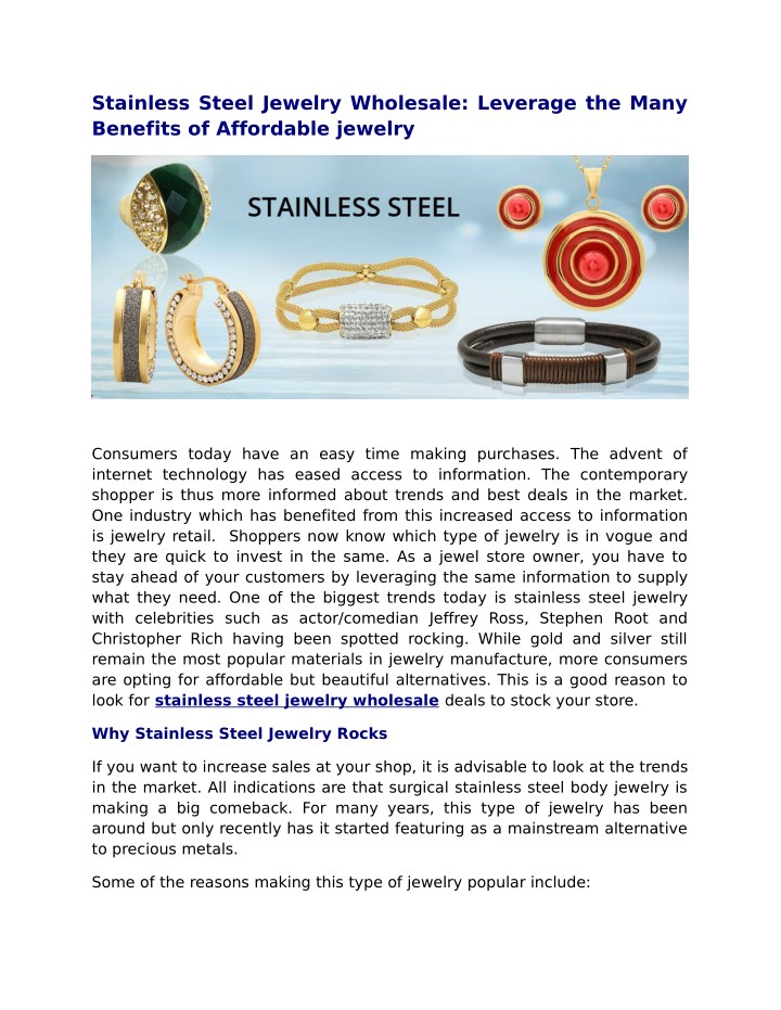 stainless steel jewelry wholesale leverage n.