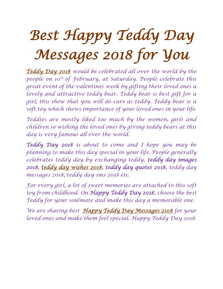 best best happy happy teddy day messages 2018 n.