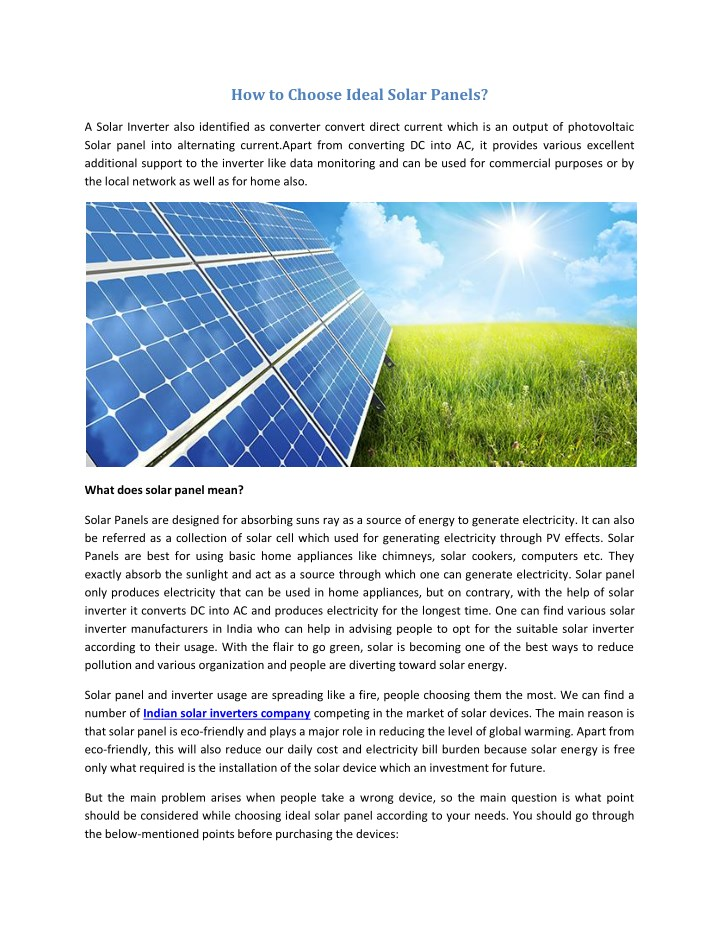 how to choose ideal solar panels n.