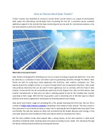 how to choose ideal solar panels