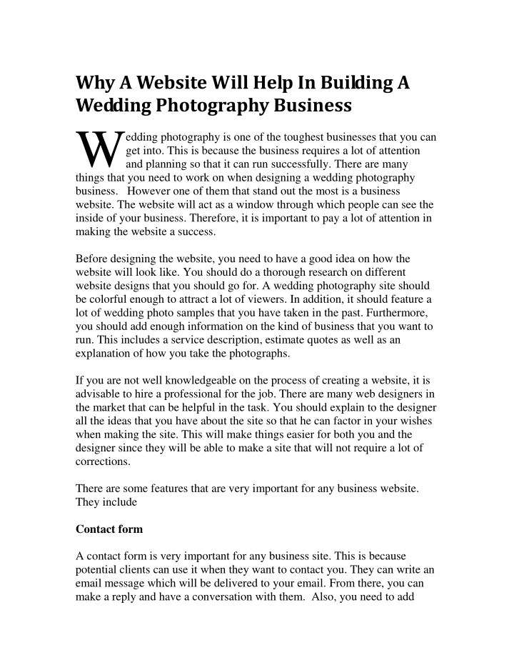 why a website will help in building a wedding n.