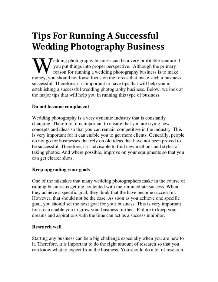 tips for running a successful wedding photography n.