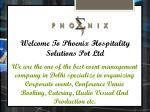 welcome to phoenix hospitality solutions pvt ltd