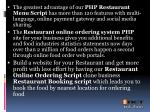 the greatest advantage of our php restaurant menu