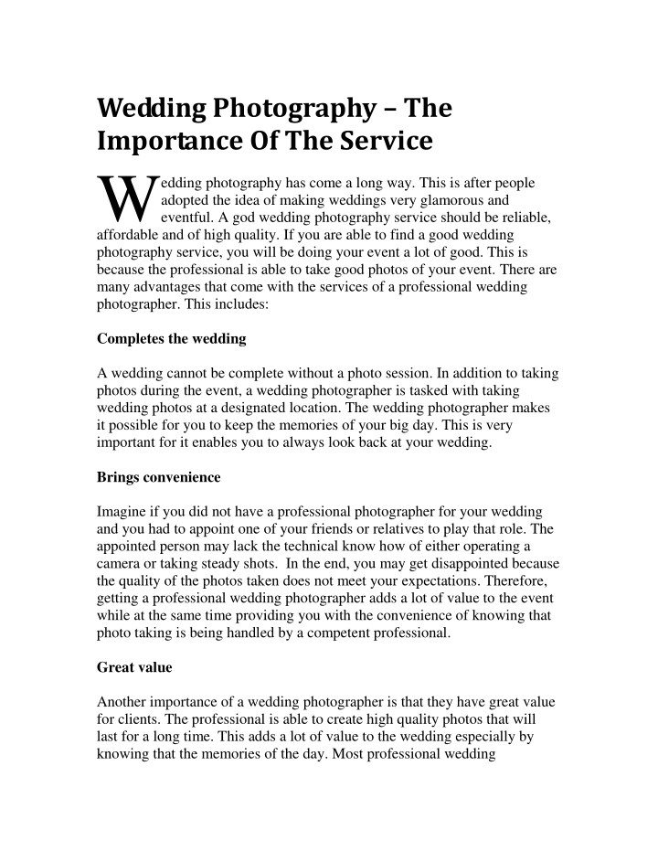 wedding photography the importance of the service n.