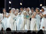 kesha is joined by fellow singers as they perform