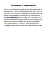 disadvantages of java web hosting
