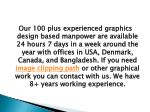 our 100 plus experienced graphics design based