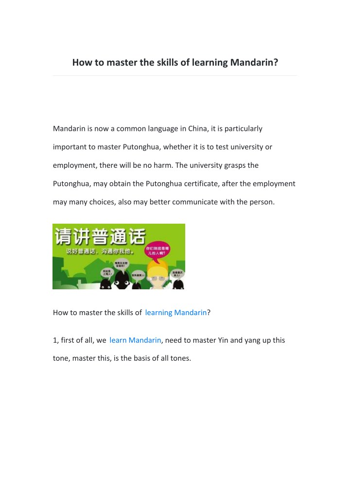 how to master the skills of learning mandarin n.