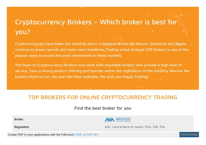 cryptocurrency brokers which broker is best n.