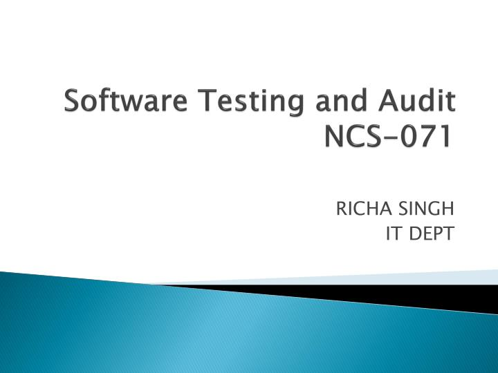 software testing and audit ncs 071 n.