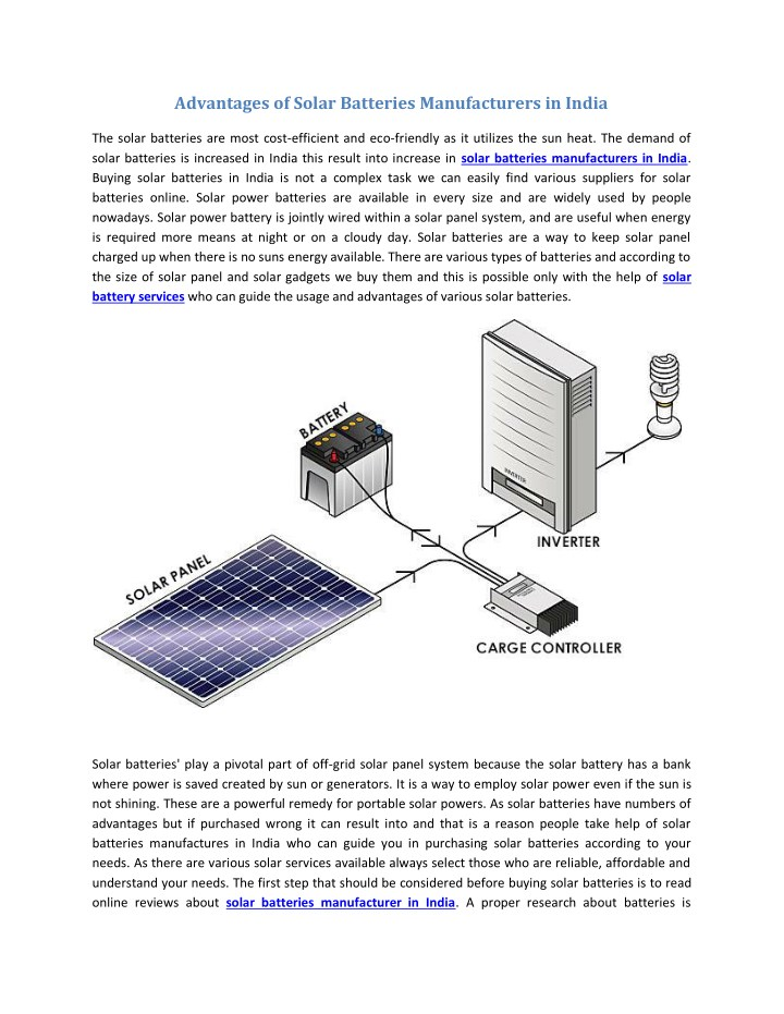 advantages of solar batteries manufacturers n.
