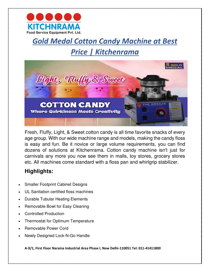 gold medal cotton candy machine at best price n.