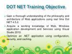 dot net training objective