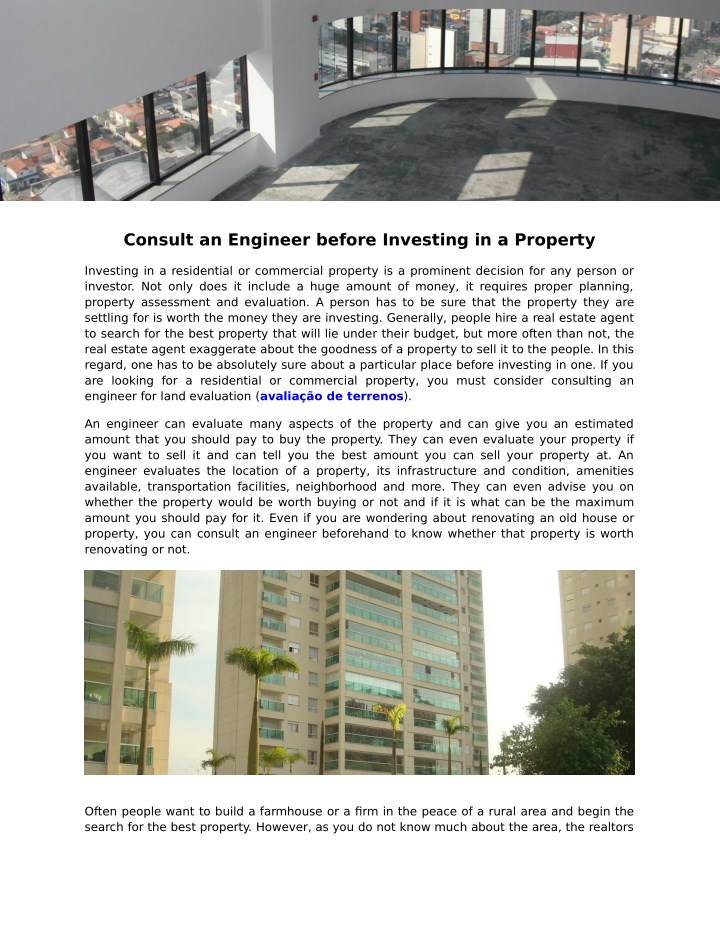 consult an engineer before investing in a property n.