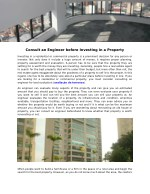 consult an engineer before investing in a property
