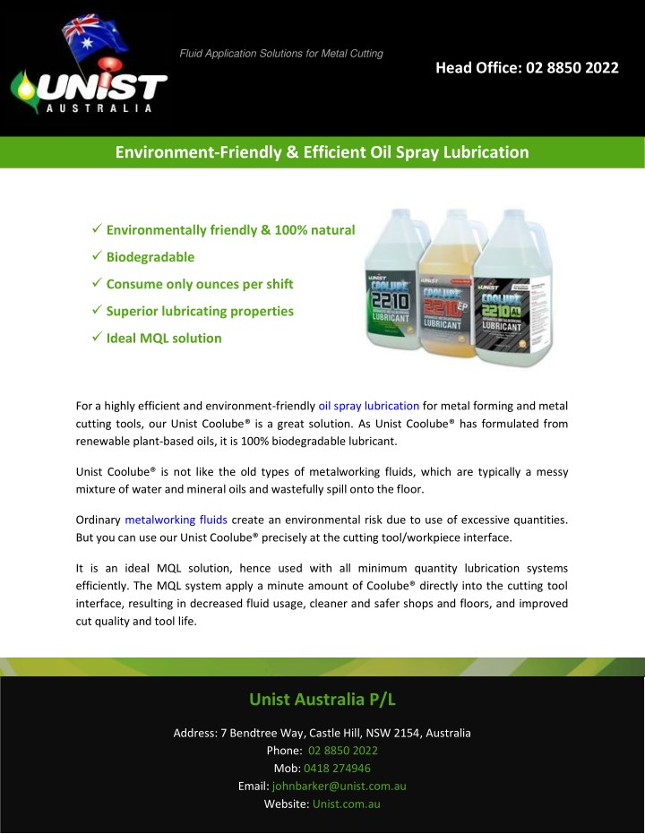 fluid application solutions for metal cutting n.