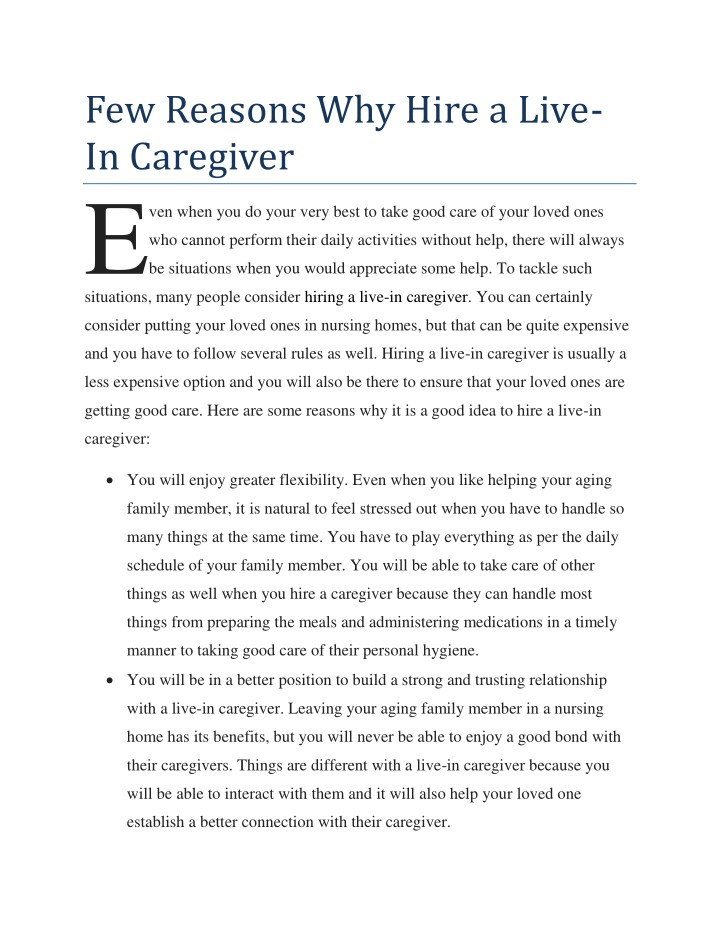few reasons why hire a live in caregiver e n.