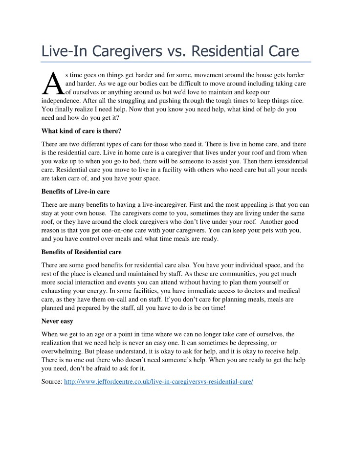 live in caregivers vs residential care a n.