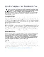 live in caregivers vs residential care a