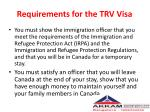 requirements for the trv visa
