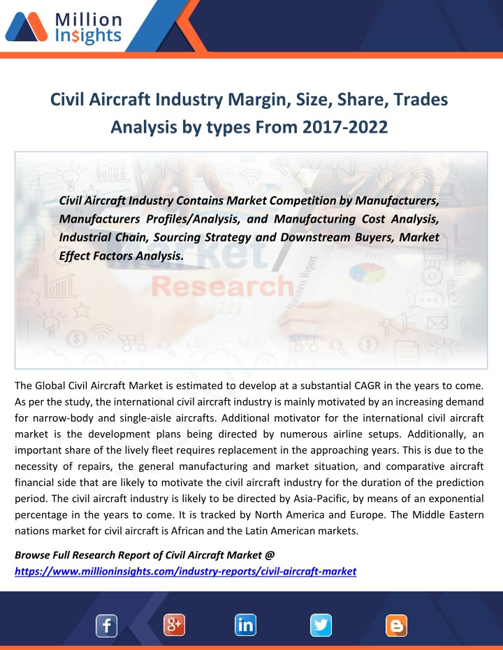 civil aircraft industry margin size share trades n.