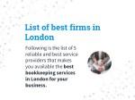 list of best firms in london following