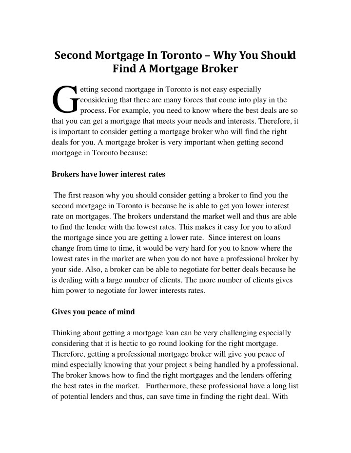 second mortgage in toronto why you should find n.