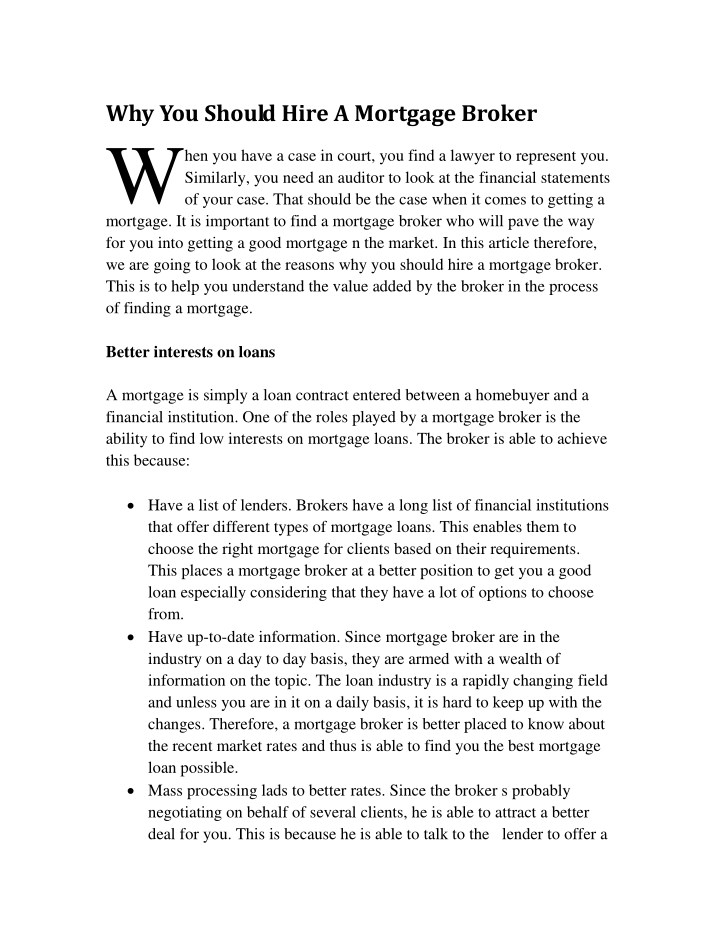 why you should hire a mortgage broker n.