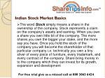 indian stock market basics