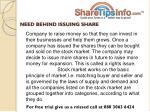 need behind issuing share