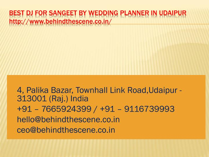best dj for sangeet by wedding planner in udaipur http www behindthescene co in n.