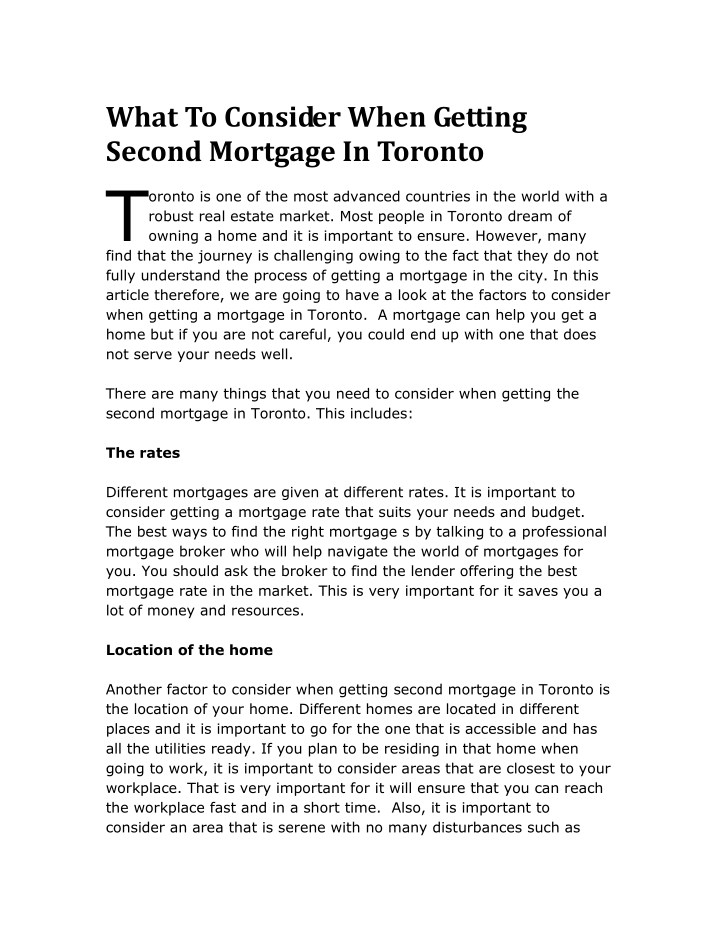 what to consider when getting second mortgage n.