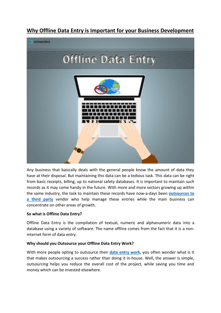 why offline data entry is important for your n.